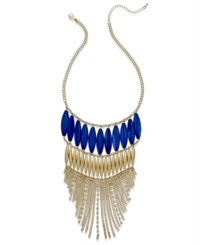 Thalia Sodi Gold Tone Blue Bead Chain Frontal Necklace