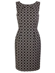 Tahari By Arthur S. Levine Asl Shift Dress With Golden Zip At The Back Black White Black White