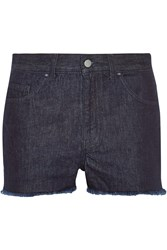 Marques'almeida For Topshop Low Slung Frayed Denim Shorts Blue