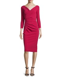 La Petite Robe Di Chiara Boni Noelle Ruched Surplice Sheath Dress Granata