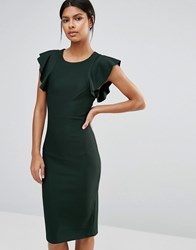 Y.A.S Alice Midi Dress With Frill Sleeves Scarab Green