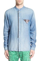 Men's Prps 'Adder' Trim Fit Chambray Band Collar Shirt