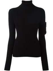 Dorothee Schumacher Arm Pocket Ribbed Pullover Black