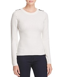 Karen Millen Button Cable Knit Sweater 100 Bloomingdale's Exclusive Ivory
