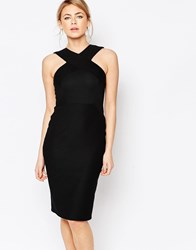 Oasis Cross Front Rib Tube Dress Black