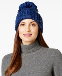 Bcbgeneration Thick And Thin Pom Pom Beanie Only At Macy's Deep Blue