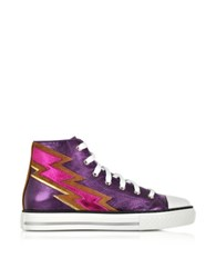 Roberto Cavalli Plum Metallic Nappa High Top Sneaker Multicolor