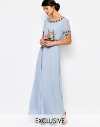 Maya Deep Back Maxi Dress With Full Skirt And Embellishment Cashmere Blue