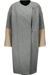 Maje Oversized Color Block Wool Coat Gray