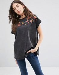 Asos T Shirt In Acid Wash With Floral Embroidery Black