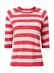 Dash Coral And White Stripe Jumper Orange