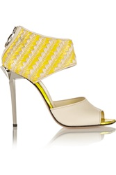 Just Cavalli Leather And Woven Raffia Sandals Yellow