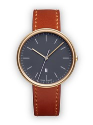 Uniform Wares M38 Women's Date Watch In Pvd Satin Gold With Tan Cordovan Leather Grey