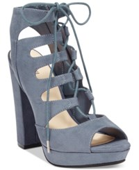 Bar Iii Nelly Lace Up Block Heel Pumps Only At Macy's Women's Shoes Moonlight Blue
