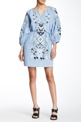 Champagne And Strawberry Embroidery Long Sleeve Linen Blend Mini Dress Blue