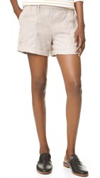 Three Dots Joyce Cuffed Linen Shorts Sand