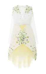 Delpozo Tulle Skirt Embellished Dress White Yellow Green