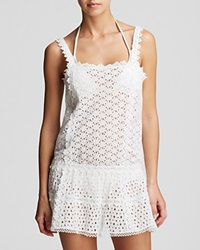 Ondademar Glam Eyelet Dress Swim Cover Up White
