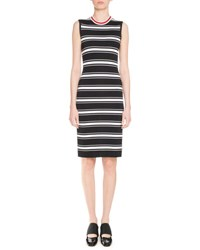 Givenchy Sleeveless Striped Midi Dress Black White Black White
