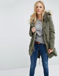 Tommy Hilfiger Denim Parka Jacket With Faux Fur Lining Grape Leaf Green