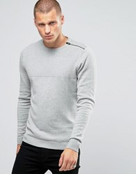 Jack And Jones Zipped Shoulder Detail Jumper Grey