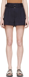 Marc Jacobs Navy Pleated Tab Shorts