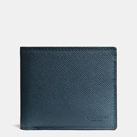 Coach Compact Id Wallet In Crossgrain Leather Prussian