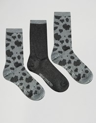 French Connection 3 Pack Animal Print Socks In A Box Winter Wh Char Multi Grey
