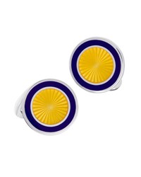 Jan Leslie Round Sunburst Cuff Links Yellow Navy