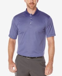 Pga Tour Men's Jacquard Stripe Performance Golf Polo Blue Ribbon