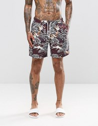 Asos Swim Shorts With Floral Print In Mid Length Burgundy Red