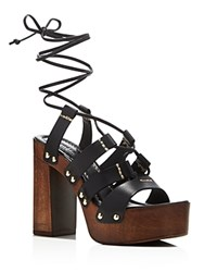 Kenneth Cole Kenzie High Heel Platform Lace Up Sandals Black