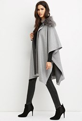 Forever 21 Faux Fur Collar Poncho Heather Grey