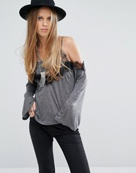 Kiss The Sky Cold Shoulder Cami Strap Top With Lace Trim Grey