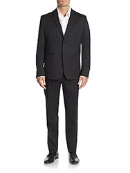 Moschino Regular Fit Stretch Wool Suit Black