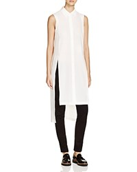 Dkny High Low Button Down Tunic Chalk