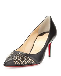 Christian Louboutin Baretta Studded Low Heel Red Sole Pump Black Girl's Size 35.5B 5.5B Black Silver