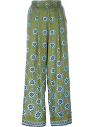 For Restless Sleepers Floral Print Palazzo Pants Green
