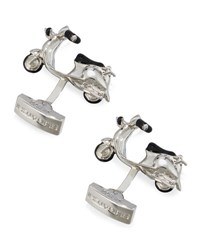 Bugatchi Silvertone Enameled Scooter Cuff Links