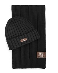 Ugg Ribbed Scarf And Hat Set Black