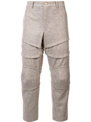 Comme Des Garcons Homme Plus Layered Cropped Trousers Grey