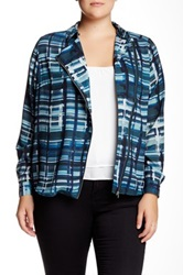 Mynt 1792 Asymmetrical Zip Blouse Jacket Plus Size Blue
