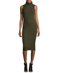 Public School Sleeves Ribbed Wool Blend Midi Dress Army Green