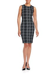 Calvin Klein Sleeveless Plaid Dress Black White