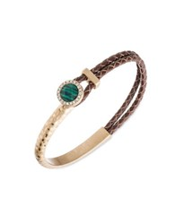 Lonna And Lilly Semi Precious Malachite Braided Bracelet Gold