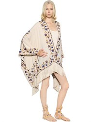 Talitha Embroidered Silk Georgette Cape