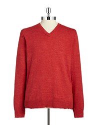 Lucky Brand V Neck Cotton Sweater Red