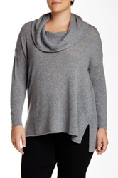 Susina Long Sleeve Side Slit Cowl Neck Cashmere Sweater Plus Size Gray