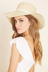 Forever 21 Floppy Floral Straw Hat