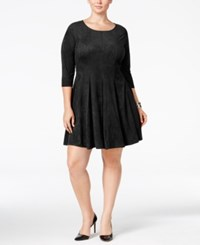 Ny Collection Plus Size Faux Suede Fit And Flare Dress Black
